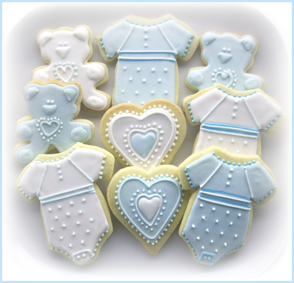 Baby Shower Iced Cookies in blue