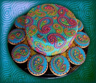 Bollywood themed cake and cookies in Paisley Pattern