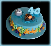 Diver and Shark cake