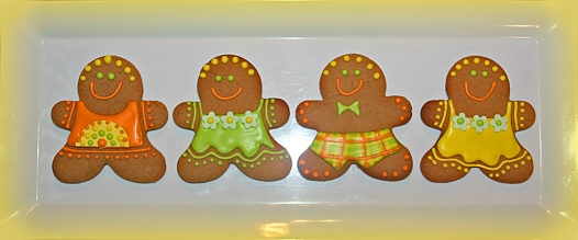 Gingerbread men yellow green orange