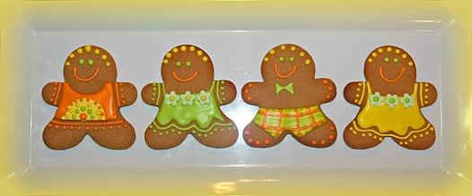 Gingerbread men yellow green orange