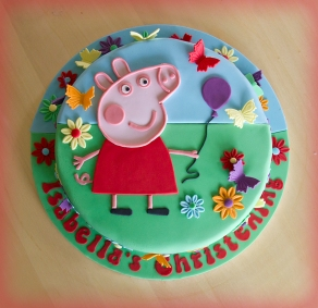 Peppa Pig with balloon cake