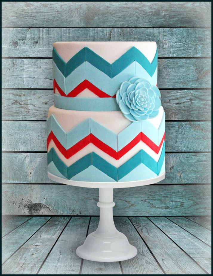 2 tier Chevron Cake
