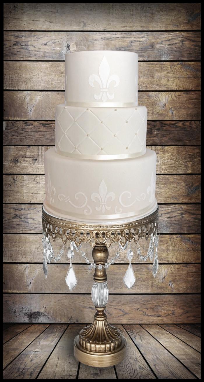 Fleur de Lis Ivory Wedding Cake
