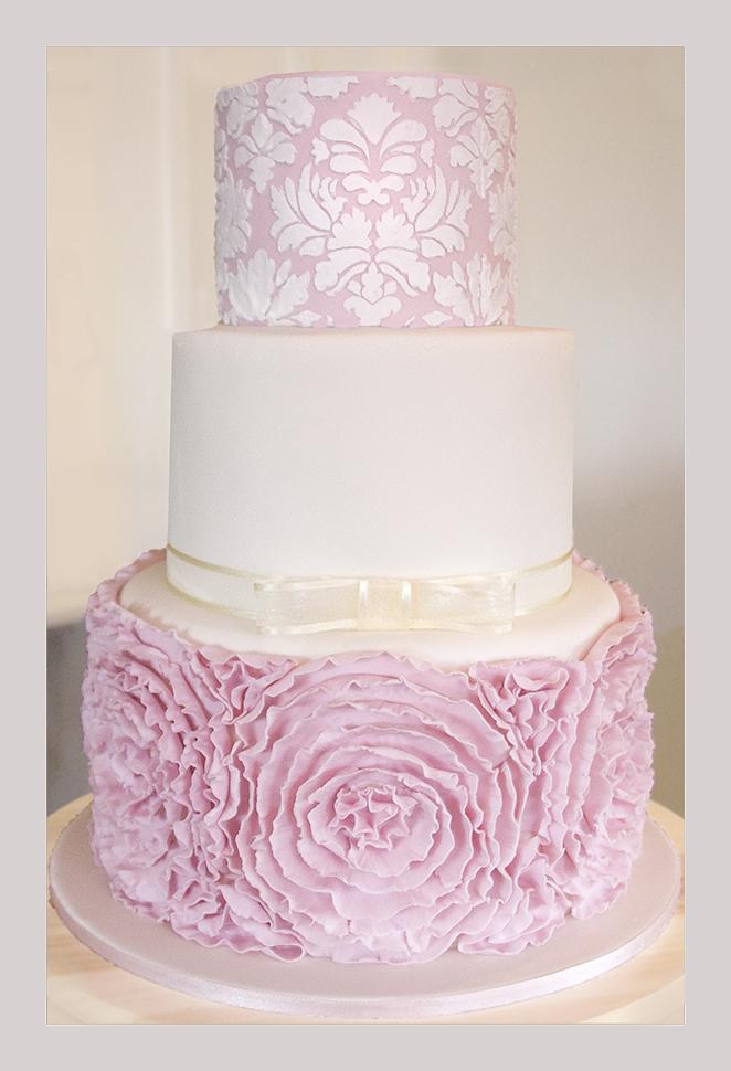 Pink Peony Frill Wedding Cake