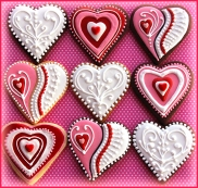 Red pink white heart cookies