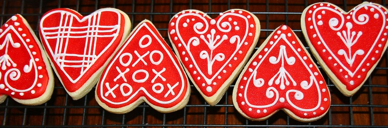 Row of Red Heart Cookies
