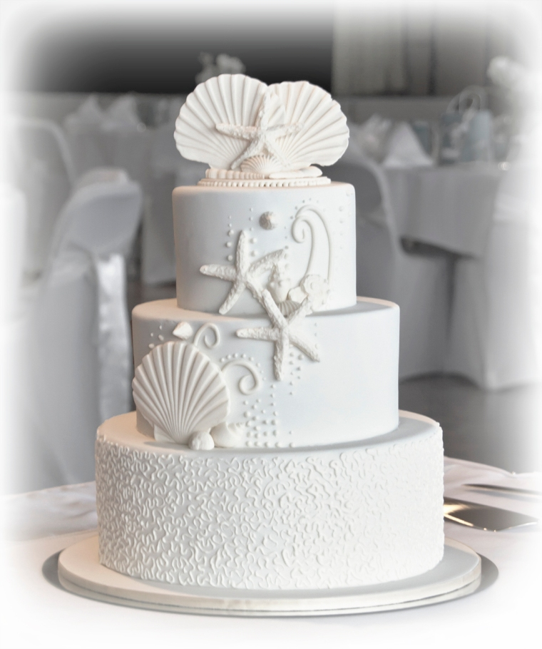 Shell and Cornelli Wedding cake