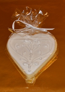 All White heart iced cookie favours