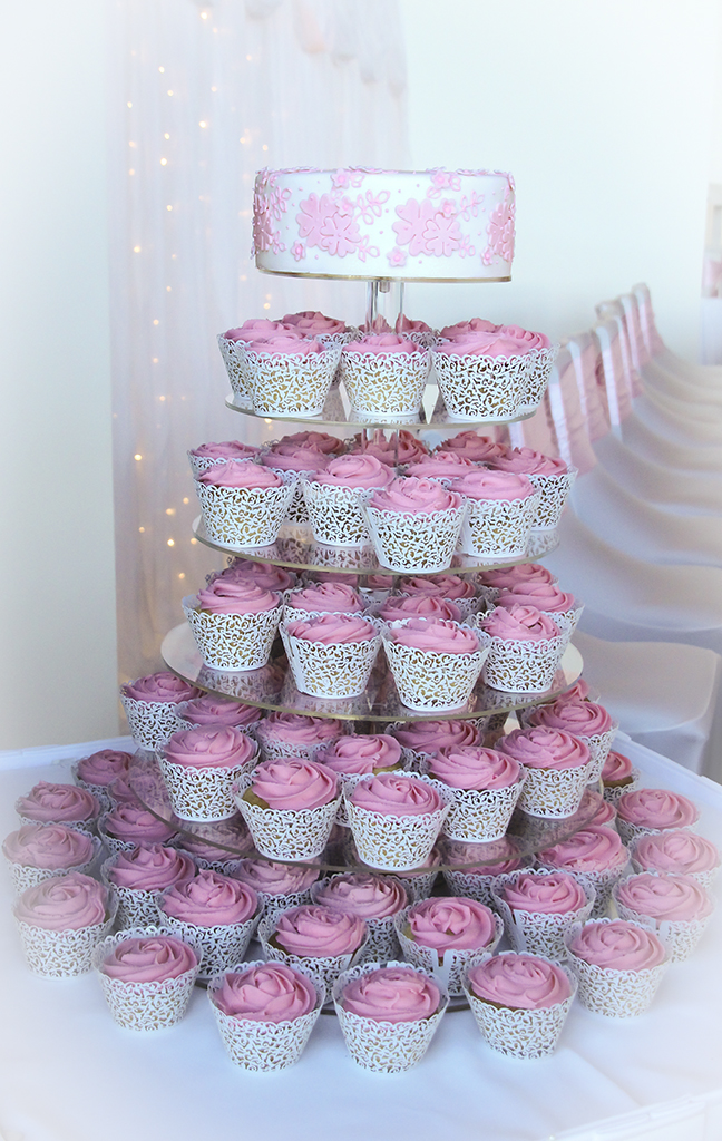 Pink Applique Cake and cupcake tower