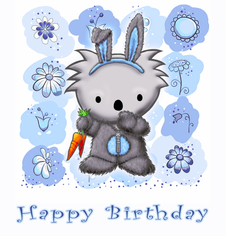 Bunny Happy Birthday blue
