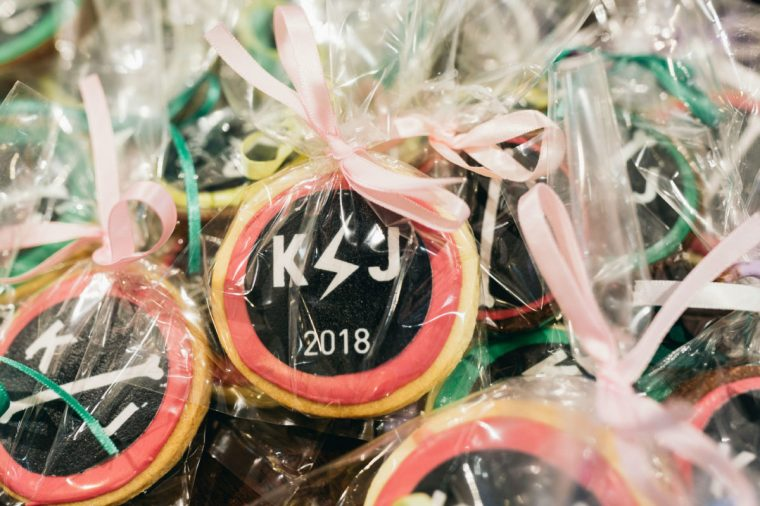 Iced cookie favours in heat sealed cello bags with matching ribbon