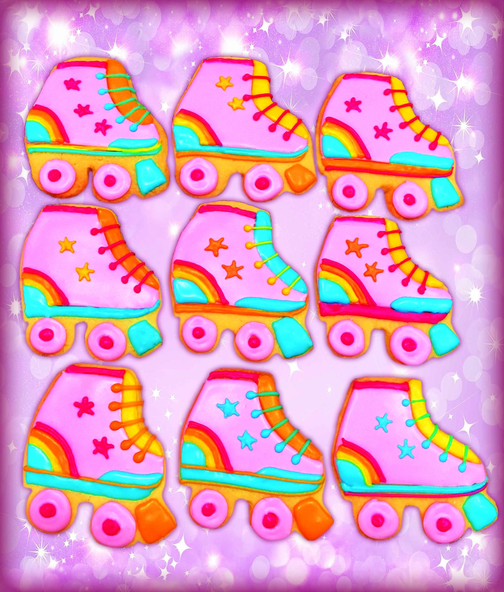 Rainbow Skate Iced Cookies